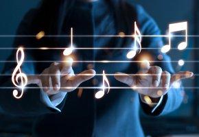 Обои нотный стан, musical, instrument, музыкальный, инструмент, классика, дирижер, скрипичный ключ, ноты
