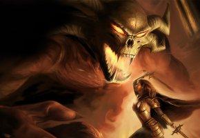 Обои демон, фентези, девушка, битва