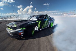 Обои tuning, clouds, mustang, smoke, Ford, competition, sportcar, drift