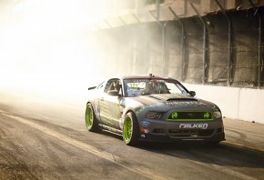 Обои Ford, Mustang, GT, TG-500, Drift, Tuning, Sportcar, Falken, Monster Energy, Team, Competition, Smoke, Sun