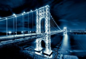 Обои George Washington Bridge, мост Джорджа Вашингтона, New Jersey, Manhattan, Hudson River, река, Гудзон, New York City, NYC, USA, Нью-Йорк, США