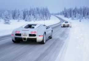 snow, cars, white carsЗима, снег, автомобили, Bugatti Veyron, Bugatti Veyron