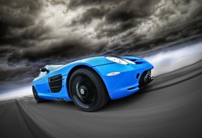 mercedes, benz, slr, blue