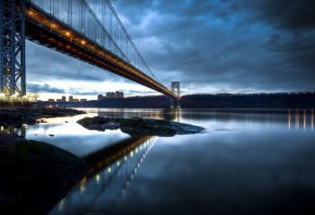 George Washington Bridge, Нью-Джерси, Манхэттен, река, Гудзон