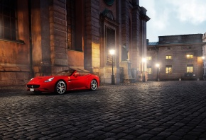 Обои город, феррари калифорния, Ferrari california, фонари, улица