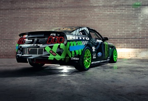 Обои Ford, Mustang, RTR, Drift, Vaughn Gittin Jr, Team, Monster energy, Competition, Sportcar, Black, Green, Wall