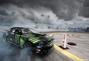 Обои SpeedHunters, Monster Energy, Mustang RTR, Мустанг, дрифт, дым