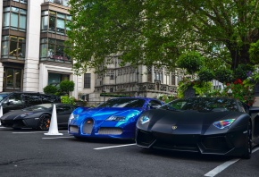 Black, matte, Aventador, x2, Chrome, Blue, Bugatti, Veyron, London, ламборджини, авентадор, суперкар, бугатти, вейрон, гиперкар, передок