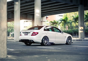 Mercedes, Mercedes-Benz, Sedan, C63, AMG, Tuning, Power, White, Wheels, Street, Palm, Road, Bridge