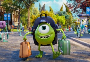 Обои радость, mike wazowski, Monsters university, кепка, чемодан, disney, pixar