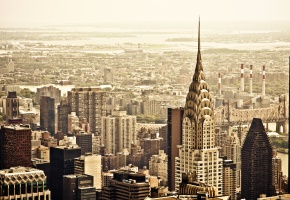 Обои New York, New York City, NYC, Нью-Йорк, USA, США, Manhattan, Манхэттен, Chrysler Building, Крайслер-билдинг, Queensboro Bridge, мост Куинсборо, город