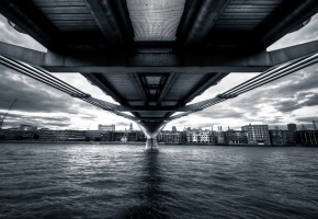 Millennium Bridge, river, London, Англия, Лондон, мост, река