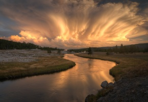 Firehole River, Yellowstone National Park, лес, река, закат, облака