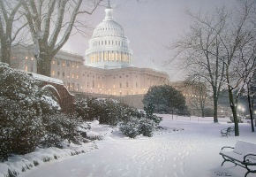 Обои Evening on the Hill, Rod Chase, painting, United States Capitol, evening, hill, meeting place, park, USA, Washington, winter, snow, живопись, США, Ваш