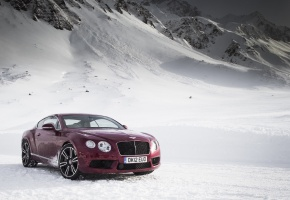 Bentley, Continental, GT, V8, бентли, горы, снег