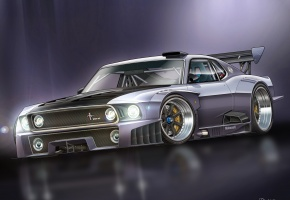 Ford, Mustang, 1000 HP, GT-R, race car, форд, мустанг, арт
