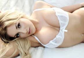 Ashley Emma, blondes, girls, women, models, cleavage, boobs, tits, lingerie, white lingerie, sensual, sexy, underwear, beautiful, body, pierced