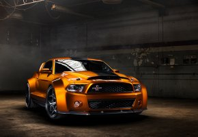 Обои Ford, Mustang, Shelby, GT500, orange, форд, мустанг, обвес