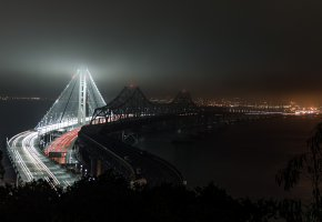 San Francisco, USA, bridge, Сан-Франциско, Калифорния, мост, залив, ночь, огни