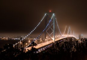 Обои San Francisco, California, USA, bridge, lights, Сан-Франциско, Калифорния, залив, ночь
