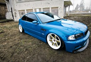 BMW, E46, M3, blue, tuning, бмв