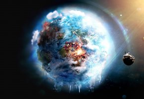 Обои fire, Earth, world, futuristic, frozen, outer space, destruction