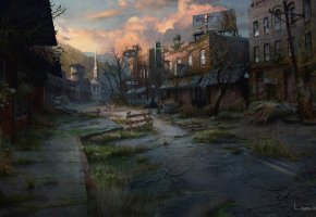 Обои The Last of Us, улица, Апокалипсис, дома