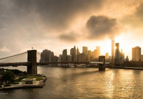 East river, Manhattan, Manhattan Bridge, New York City, World Trade Center, мост, отражение