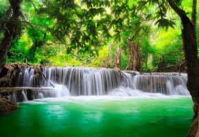 Обои waterfall, river, flow, emerald, water, forest, водопад