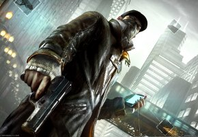 Watch Dogs, Сторожевые Псы, Эйден Пирс, Город, Телефон, Пистолет, Камера, Наблюдения, Связь