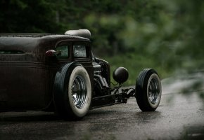 Chevrolet, Chevy, Hot Rod, Rat Rod, V6, 540ci, Сзади, Мокрая, Дорога