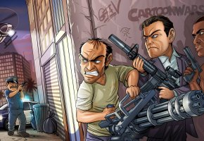 Обои бандиты, оружие, Michael, Trevor Phillips, Franklin, Grand Theft Auto V, Rockstar North, Rockstar Games, GTA 5