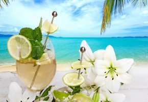 Обои tropical, cocktail, fruit, fresh, drink, summer, beach, palms, flowers, напиток, пляж, коктейль