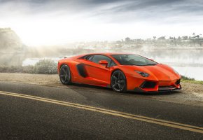 Обои Lamborghini Aventador, supercar, orange, суперкар, ламборгини, оранжевая