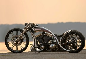 bike, custom, unbreakable, мотоцикл, море