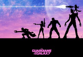 Обои Стражи Галактики, Guardians of the Galaxy, Peter Quill, Star-Lord, Gamora, Drax the Destroyer, Groot, Rocket