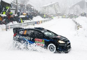 Обои Ford, Fiesta, Rally, Авто, Форд, Занос, Поворот, Зима, Снегопад