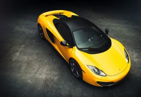 Обои McLaren, MP4-12C, Supercar, Yellow, Top, View, Front