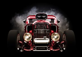 Обои hot rod, red, front view, wheels, headlights