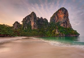Обои Thailand, Тайланд, Andaman sea, rocks, скола, beach, sand, tide, trees, пляж, песок