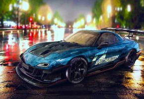 Обои Mazda, RX-7, Blue, Nigth, Drift, Car, Speedhunters
