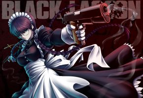 Обои Black Lagoon, Hijikawa Arashi, maid, Roberta, weapon, gun, pistol, anime, manga, game, japanese, asian, asiatic, oriental, cross, fog, dress, girl