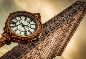 Обои нью йорк, часы, flatiron building, new york, clock, здание