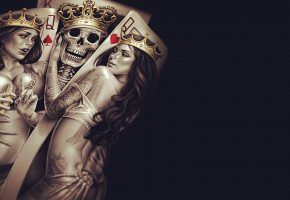 Обои King, Queen, Crown, poker, tattoos, skull, bones, skeleton, карты, скелет, король, дама
