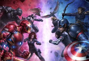 Обои Captain America: Civil War, Первый мститель: Противостояние, Фильм, Art, JeeHyung lee, Spider Man, Iron Man, Captain America, Ant-Man