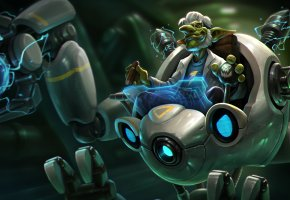 Обои Ascension Doctor Repulsor, гоблин, сигара, робот, Doctor Repulsor, Heroes of Newerth