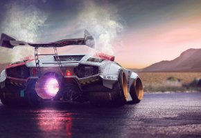 Обои Lamborghini, Countach, Jet, Engine, Fire, Power, Concept, by Typerulez