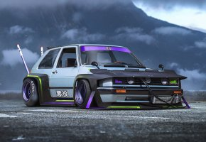 Обои Volkswagen, Golf, Bosozoku, Future, Concept, Car, by Khyzyl Saleem