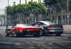 Обои Lamborghini Miura, Ford Mustang RTR, Drift, Cars, Rear, by Khyzyl Saleem