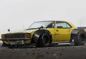 Обои Chevrolet, Camaro, 1969, Yellow, Future, Tuning, by Khyzyl Saleem